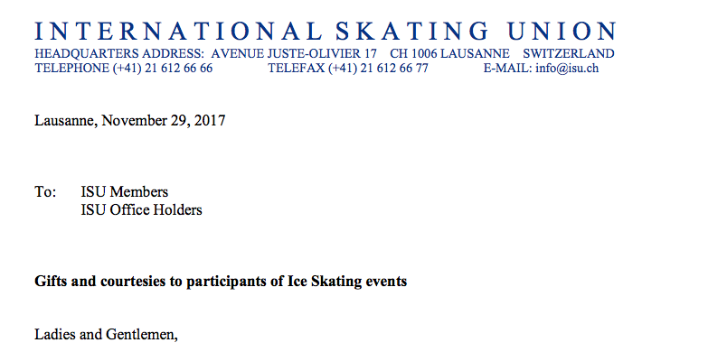 Top of the ISU letter announcing it had warned Skate Canada for crossing an ethical line.