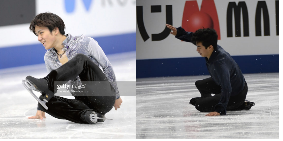 Shoma Uno (left) and Nathan Chen on the ice after falls in the Grand Prix Final. (Getty Images)