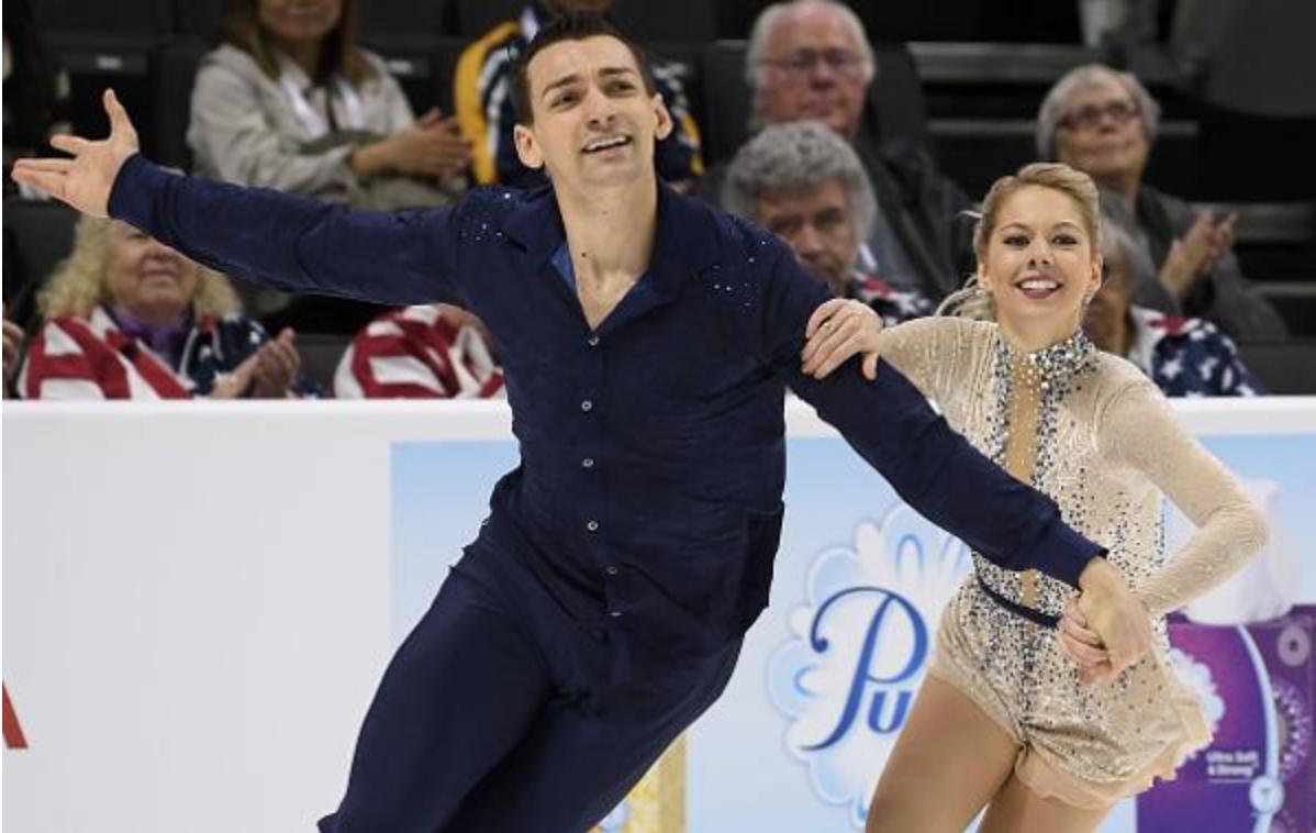 Alexa Scimeca Knierim and husband Chris Knierim had reason to smile after their short program. (Jay Adeff / U.S. Figure Skating)