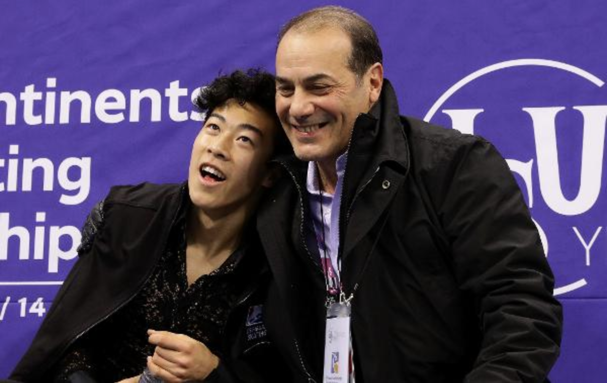 Nathan Chen and Rafael Arutunian after Chen won the 2017 Four Continents Championship on the 2018 Olympic rink in Gangneung, South Korea.