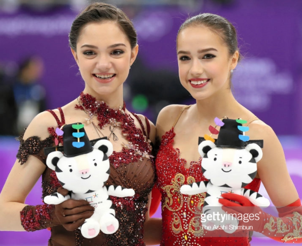 Evgenia Medvedeva (left) and Alina Zagitova after their stunning Olympic performances.