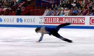 Shoma Uno fell three times on quads at worlds.  (Video capture.)