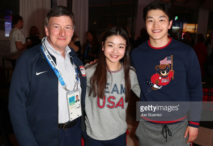 Samuel Auxier and ice dance bronze medalists Maia and Alex Shibutani at USA House during the Pyeongchang 2018 Winter Olympics.