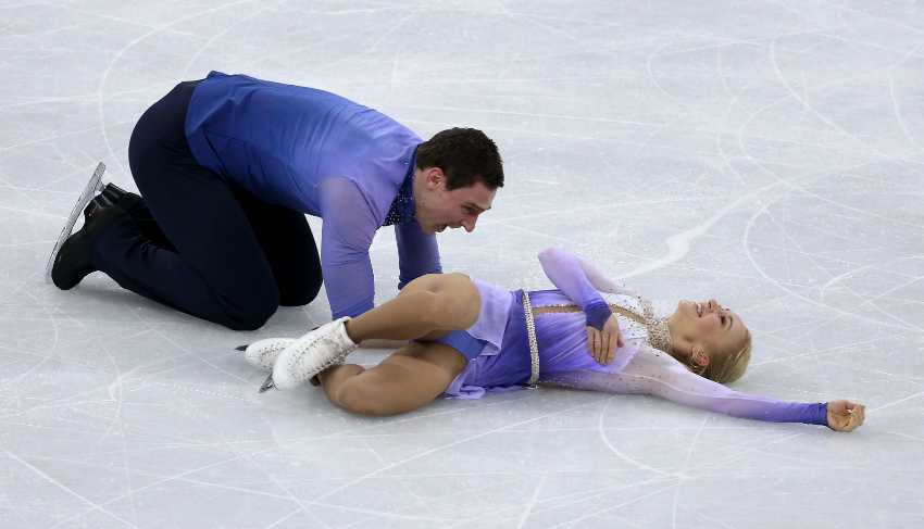 Aljona Savchenko and Bruno Massot in delighted exhausting after their breathtaking Olympic free skate. (Getty Images).