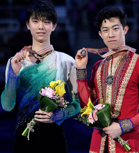 Nathan Chen of the U.S. (r) beat Yuzuru Hanyu of Japan (l) for the 2017 Four Continents gold. (Getty Images)