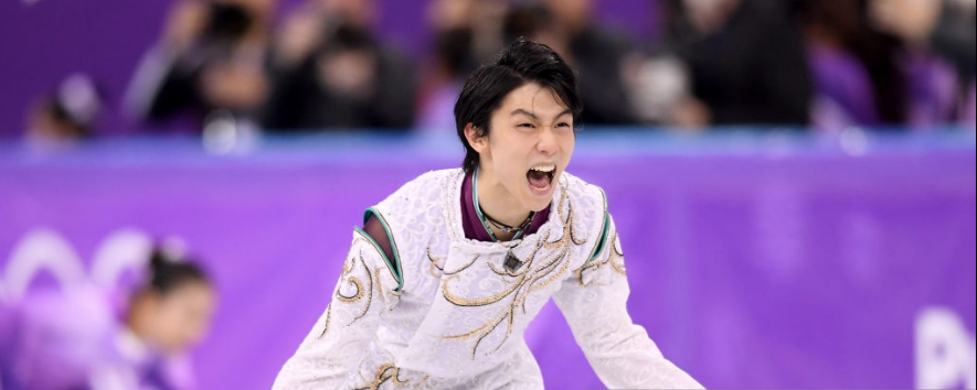 Yuzuru Hanyu reacts after his free skate at the 2018 Olympics, when he won a second straight Olympic gold. (Getty Images.)