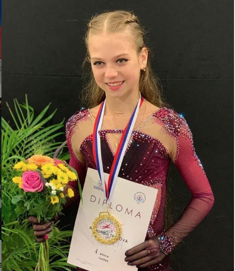 Alexandra Trusova easily won the title and made history in her senior international debut at the Nepela Memorial.