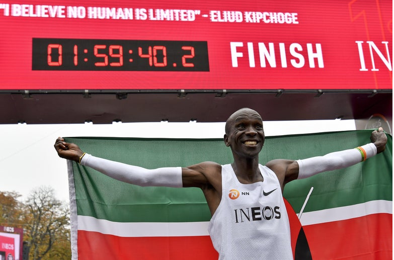 The message and the time say it all: Eliud Kipchoge ran the first sub-2-hour marathon