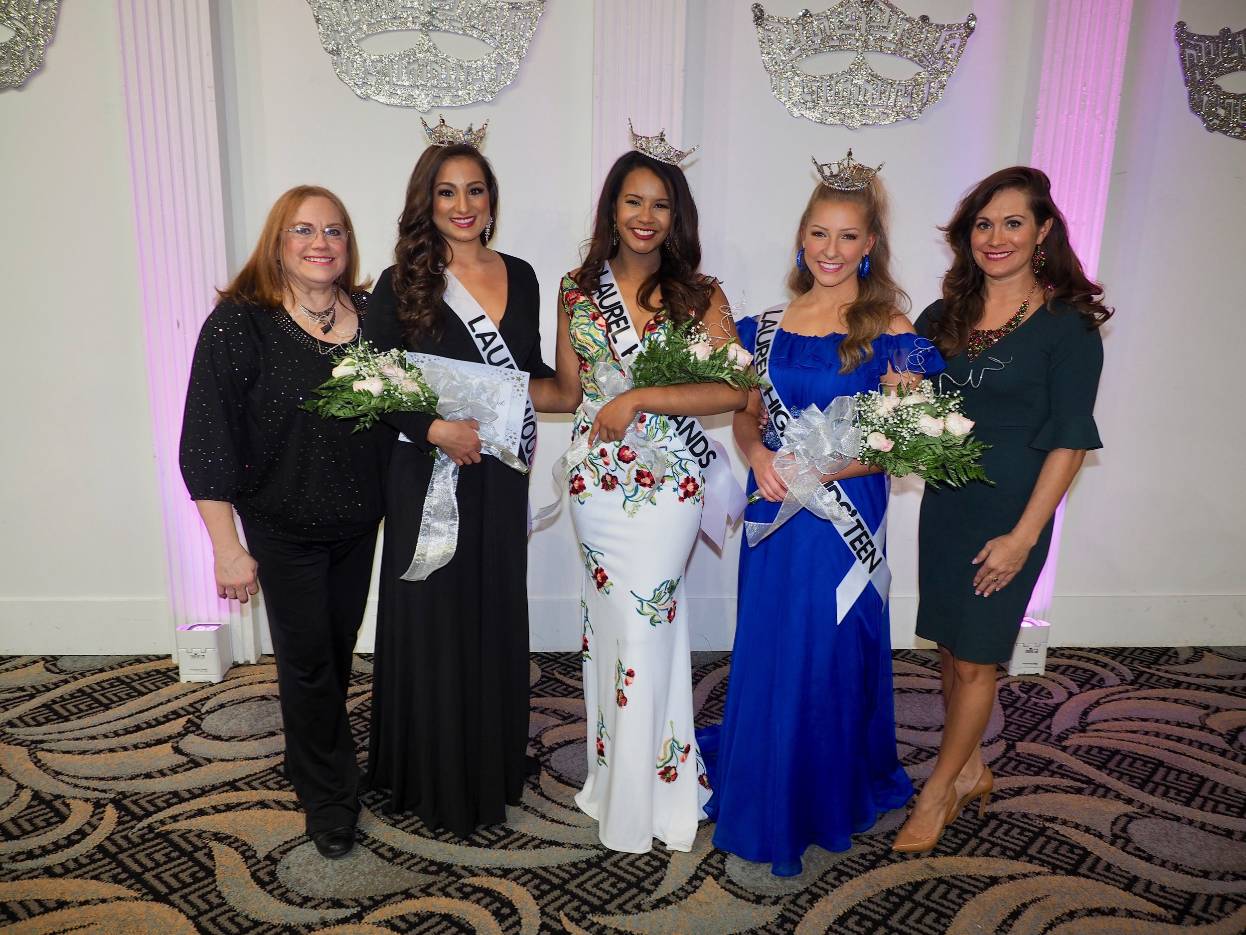 Former Local Executive Director Kathy Smartnick, now Miss Pennsylvania's Outstanding Teen Executive Director.    Meghan Sinisi-Miss Laurelwood 2019, Theresa Dickerson-Miss Laurel Highlands, Bryn Patton-Miss Laurel Highlands' Outstanding Teen    Executive Director Melanie Smartnick