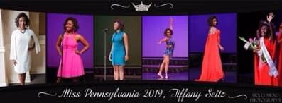 All areas of competition for Tiffany Seitz, Miss Pennsylvania 2019