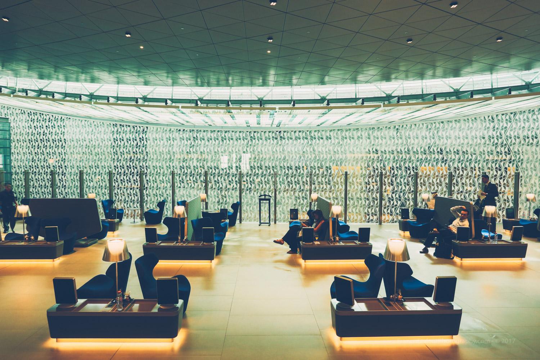 Qatar Airways Business Lounge - Hamad International Airport in Doha.