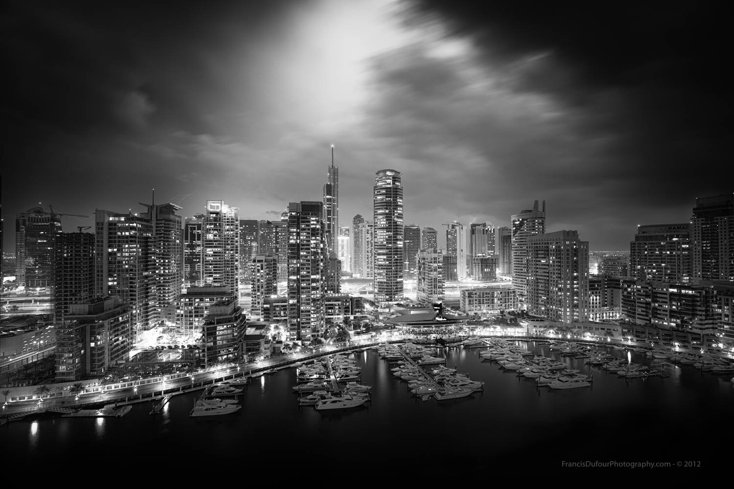 """2017 International Monovisions Awards in London - Winning Entry - Honorable Mention -""""Stormy night in Dubai Marina""""."""