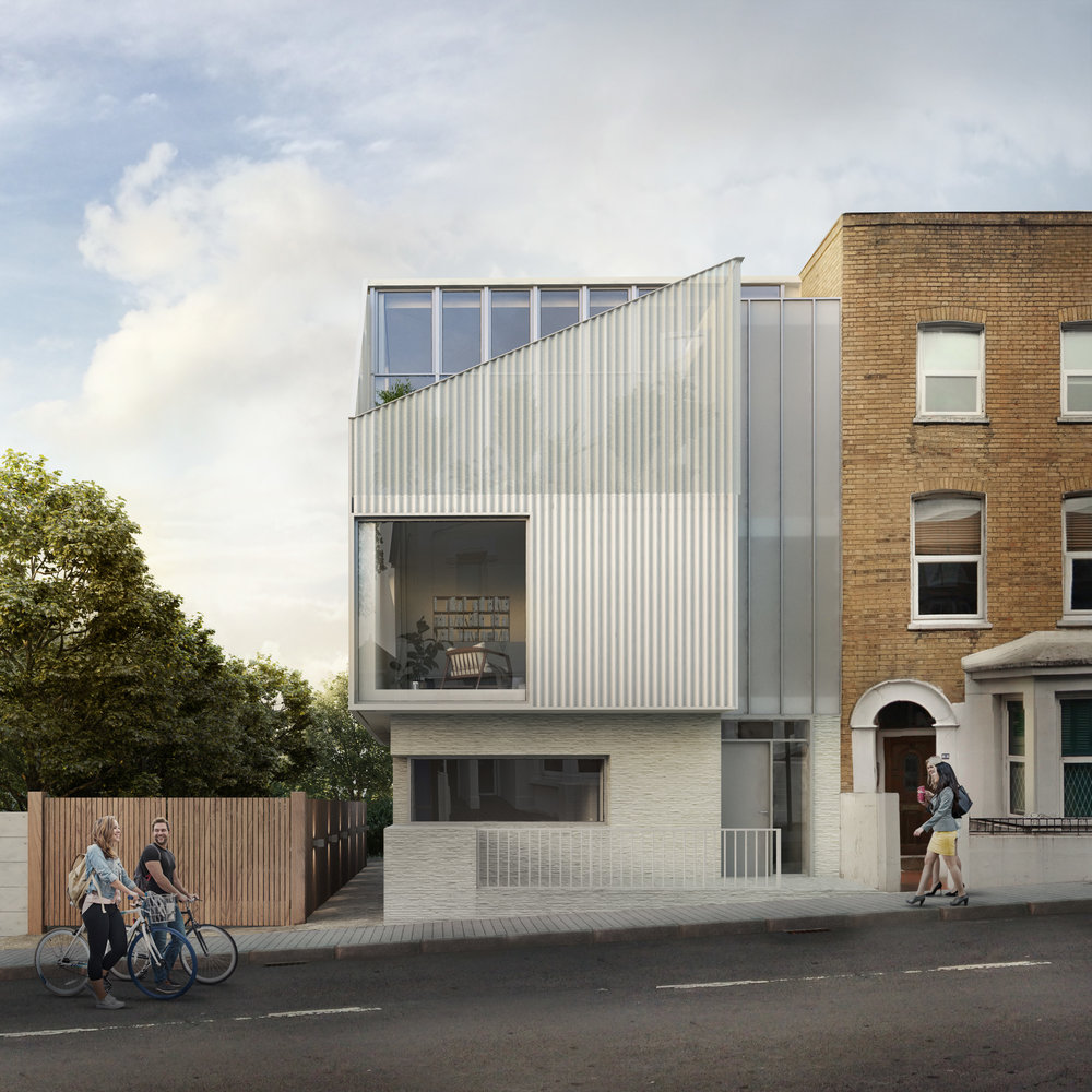 Planning has been approved for Mallinson Road, a new-build four bedroom house with a roof top balcony. This four bedroom house book-ends a Victorian terrace in South London. Lightweight metal cladding is punctured with large scale windows and perforated to seamlessly change from cladding to balustrading.   MORE