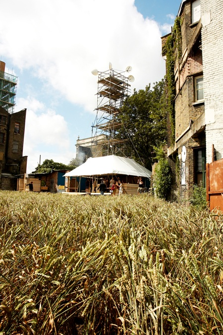 EXYZT and Agnes Denes, The Dalston Mill, Hackney, London, 2009. This temporary wheat field, functioning flour mill and bakery served to connect local communities with the new incoming populations of a rapidly changing area. EXYZT refused to accept architecture as an isolated discipline — their manifesto went so far as to state they refused to enter the current world of architectural practice, a system solely serving the building industry (image credit: Eliot Wyman. Courtesy of the Barbican Art Gallery).