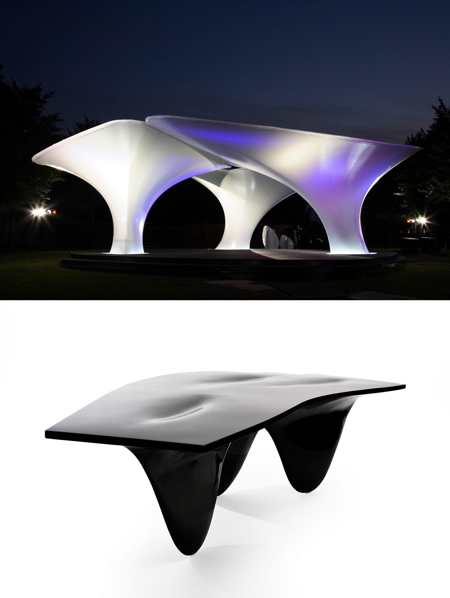 Zaha Hadid, Pavilion/Aqua Table, 2005. When a Zaha table looks just like a Zaha building, then you know you are in some kind of trouble — a visual comparison made by Jeremy Till in his 'Beyond the Fountainhead' lecture, indicating how some of the current values of contemporary architecture are so close to pure shape making as to be indistinguishable form that of furniture design (image credit: Peter Guenzel; Luke Hayes).
