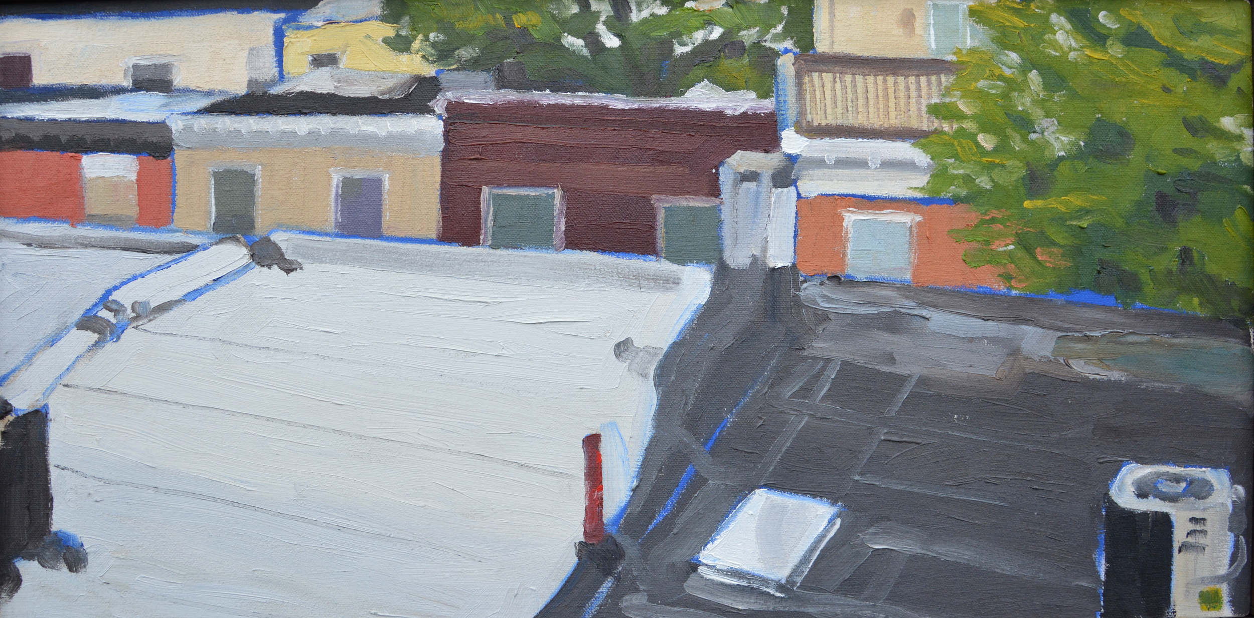 """South Philly Rooftops, 24x12"""", oil on canvas, 2007"""