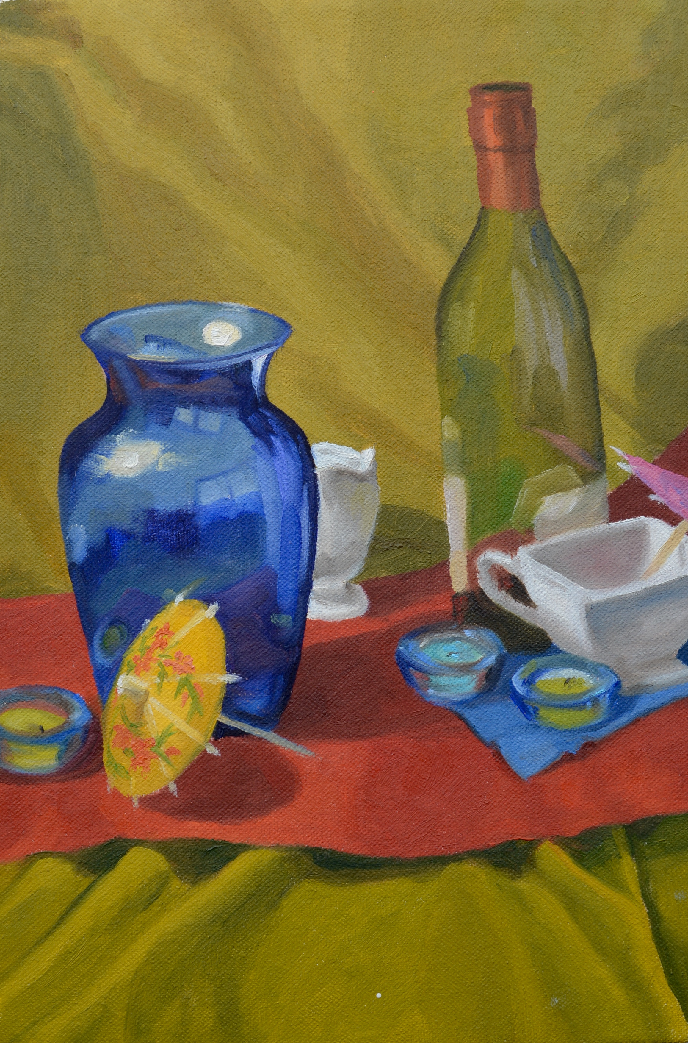 """Still Life with Bottles, 8x12"""", oil on canvas, 2007"""