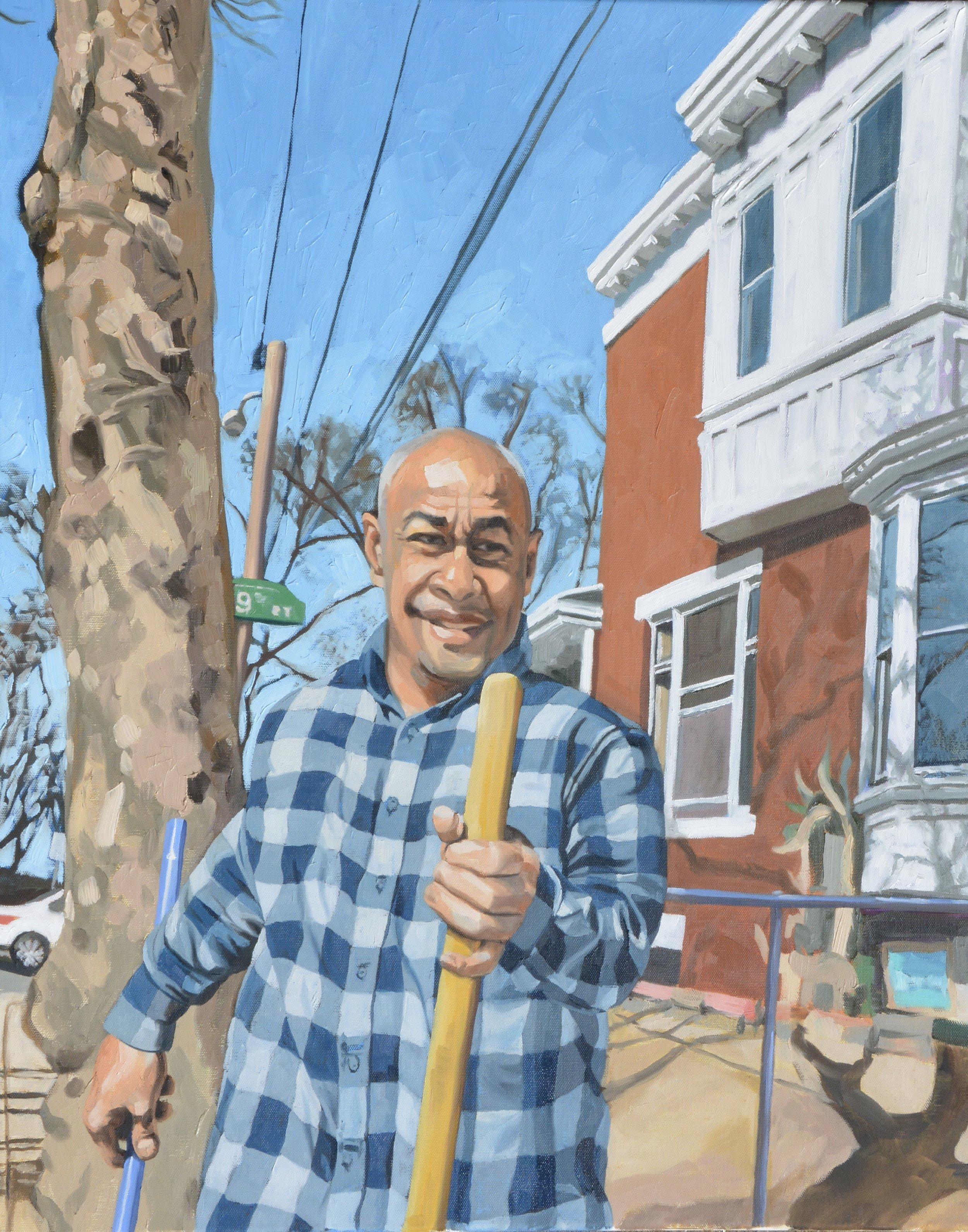 "Copy of Good Neighbors (Ruben), 24x30"", oil on canvas, 2017"