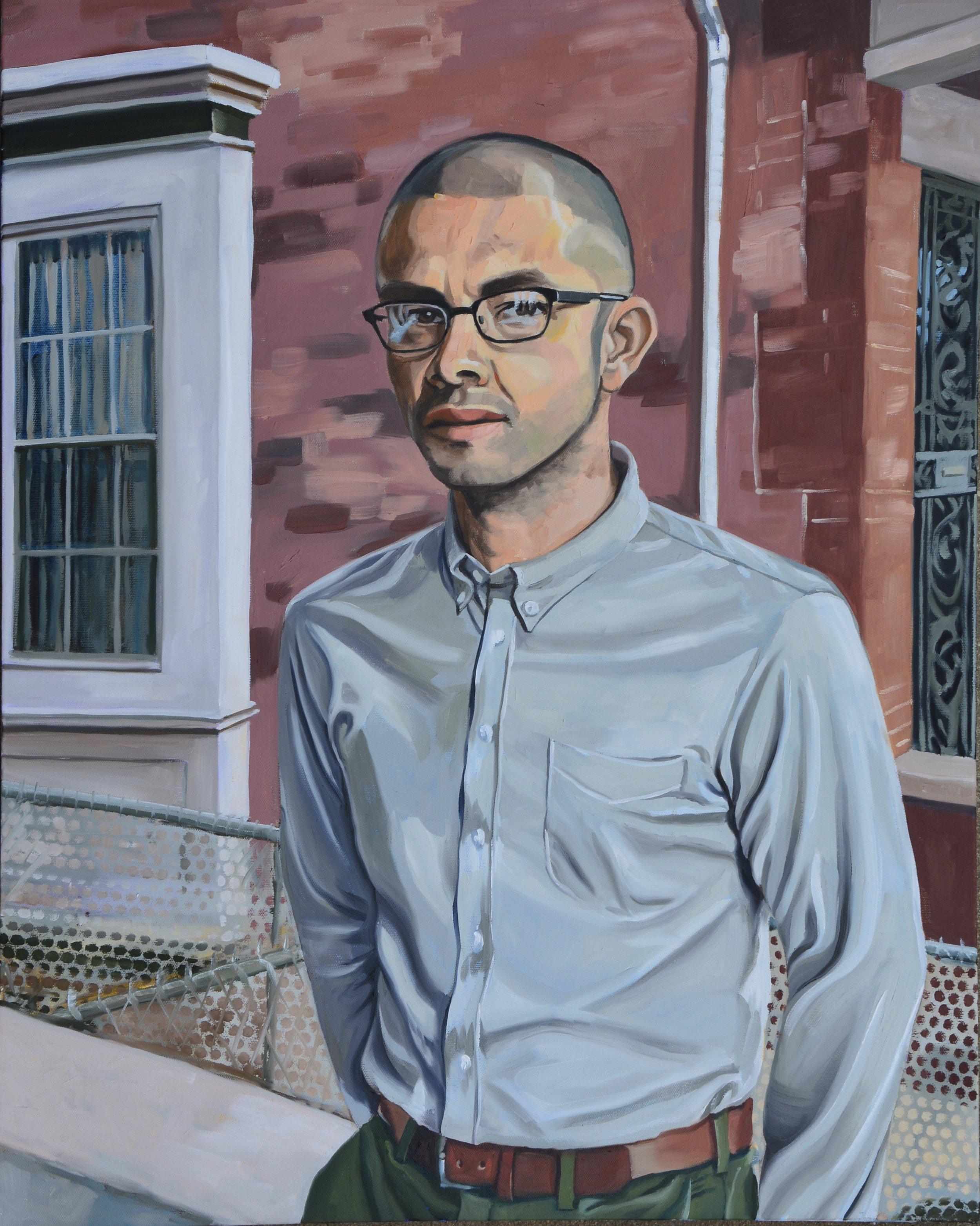 "Copy of Good Neighbors (Roberto), 24x30"", oil on canvas, 2017"