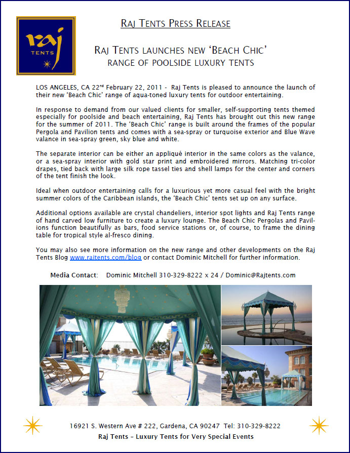 Raj Tents Beach Chic Press Release 02.22.2011