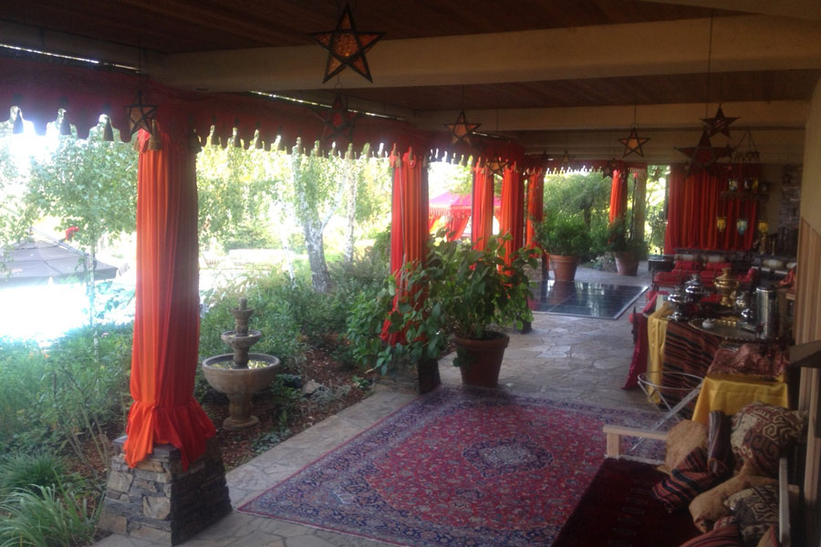 Raj Tents Home Decor themed treatment -Logia decor with draped pillars and scalloping Moroccan theme.jpg
