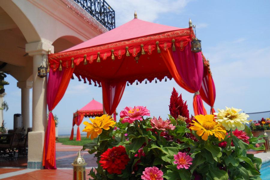 Raj Tents Luxury poolside cabana tent Hot Pink and Orange.jpg