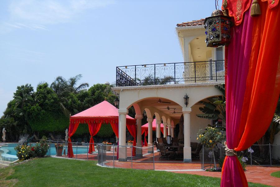 Raj Tents Luxury poolside pergolas  tent Hot Pink and Orange.jpg