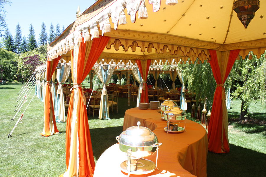 Raj Tents Luxury Indian themed Buffet Tent next to main dining tent.jpg