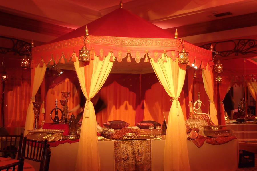 Raj Tents Indian buffet tent in ballroom.JPG