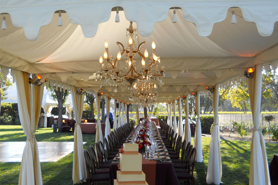 Plain Cream Pergola long dining tent with crystal chandeliers.jpg