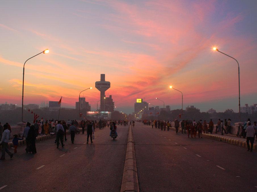 Nehru Bridge, Ahmedabad, at sunset.jpg