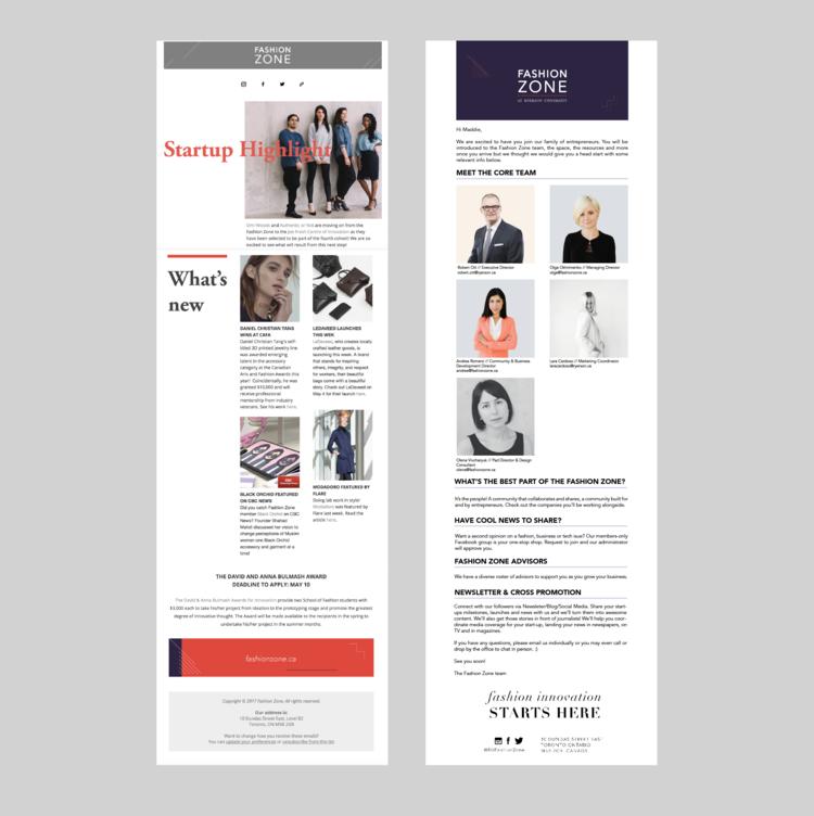 Newsletter design for both internal and external members