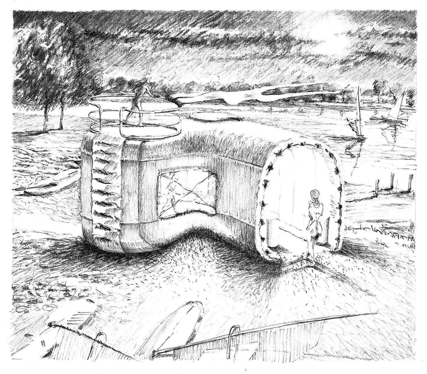 Lookout for night sailing.    Charcoal.    2010  Imagined structure