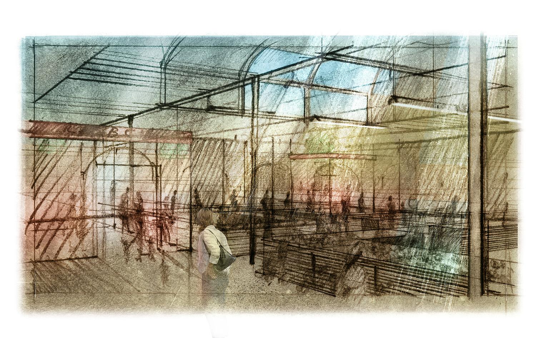 Indoor market.    Mixed media.    2014  Visualisation of public space