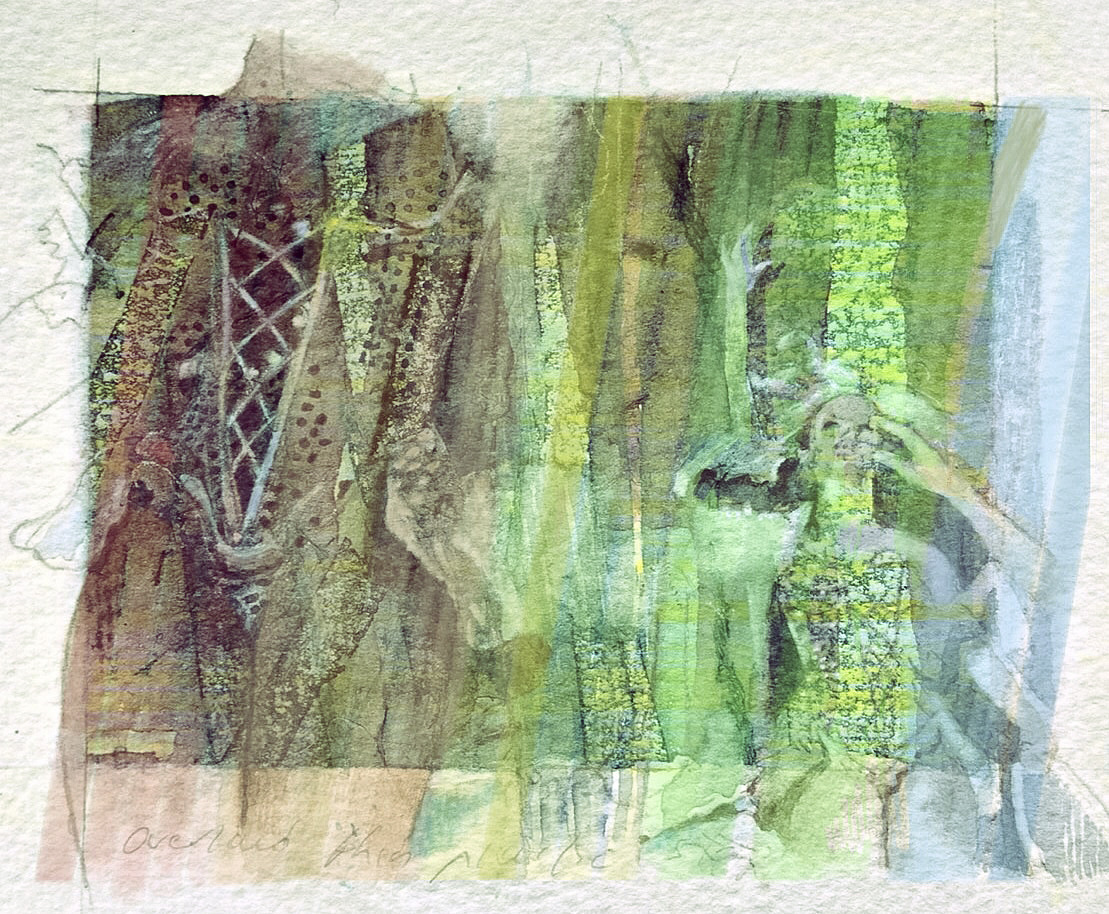 Circus girls.    Watercolour   2015  Evoking horse riders in the ring