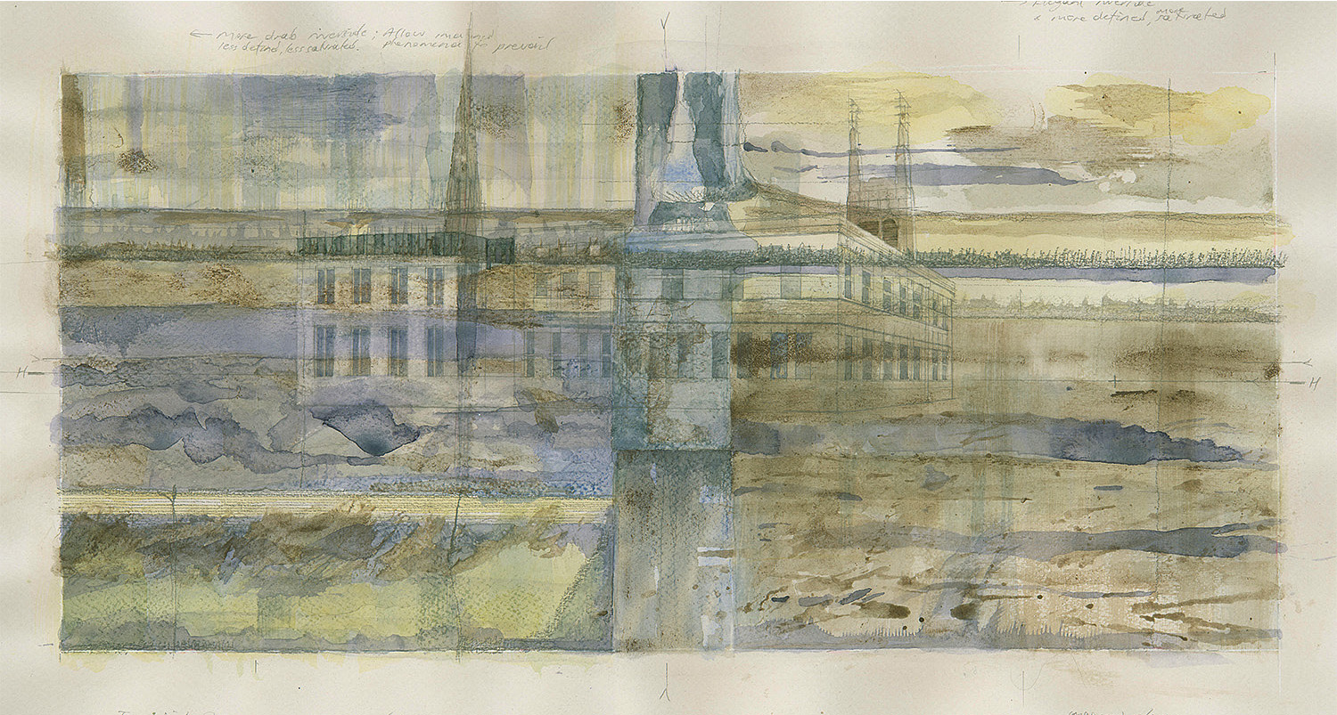 Leamington Spa(ces) - Old Post Office.    Watercolour  2016  Close encounter with wall of All Saints Church over long view of adjacent block
