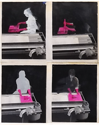 Factory study.Paint on photographs.1975