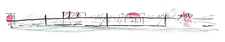 Parc de la Villette Paris, 2 minute sketch.Pen & pastel.2010