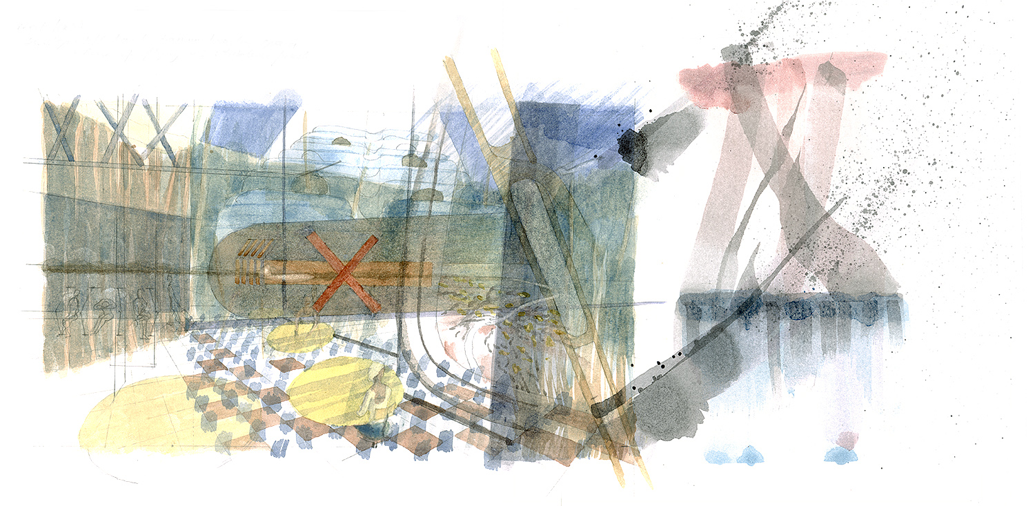 Manchester flight.    Watercolour  2015  Waiting    Fear of flying   Turbulence.