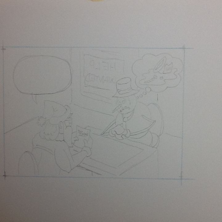 It's a bit hard to see, but I keep the pencils light so that I don't have too much to erase later.