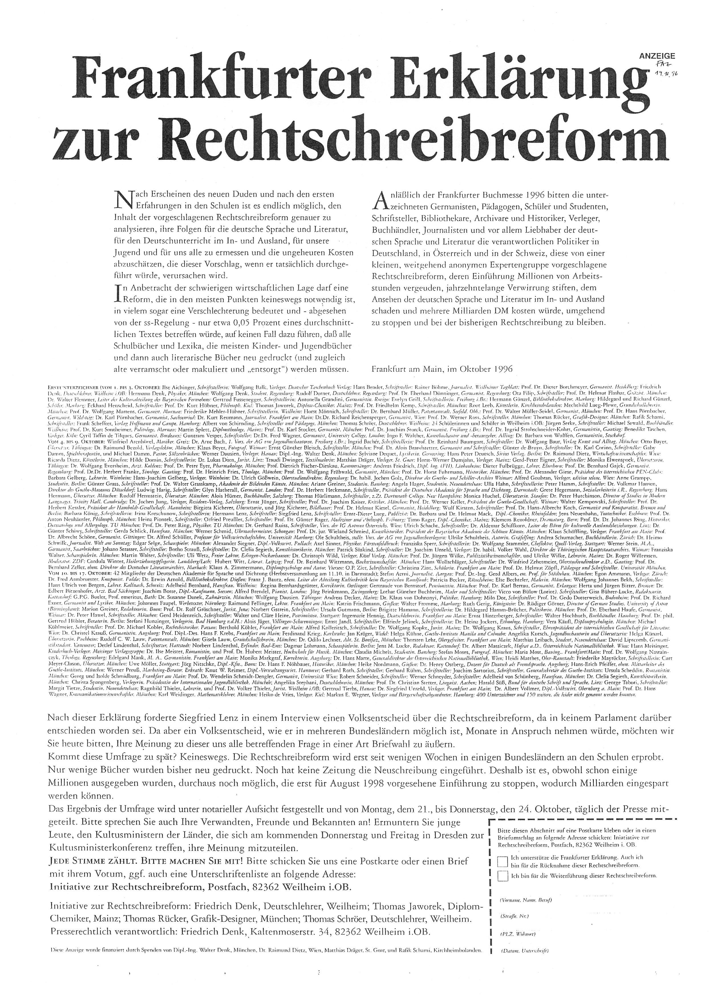 In drei Wochen protestieren 37.442 Menschen schriftlich gegen die Rechtschreibreform.