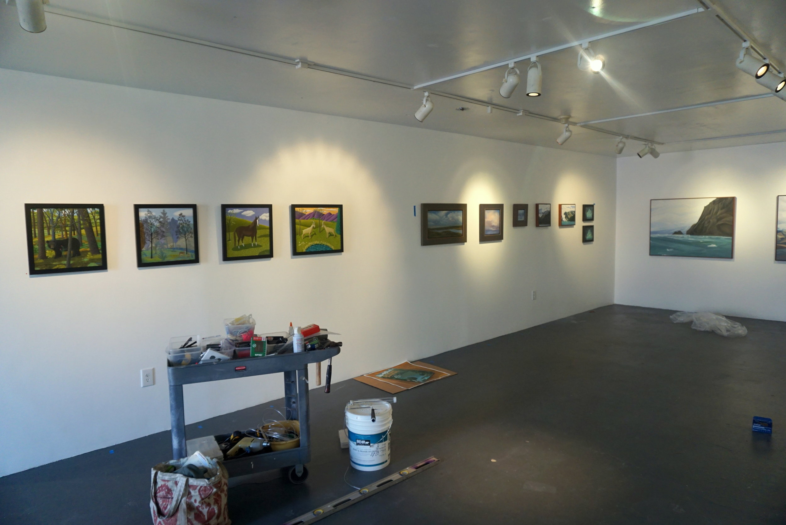 From left to right: works by Jane Troupe, Ruth Sorensen, Linda Lyons and Lisa Gilley.