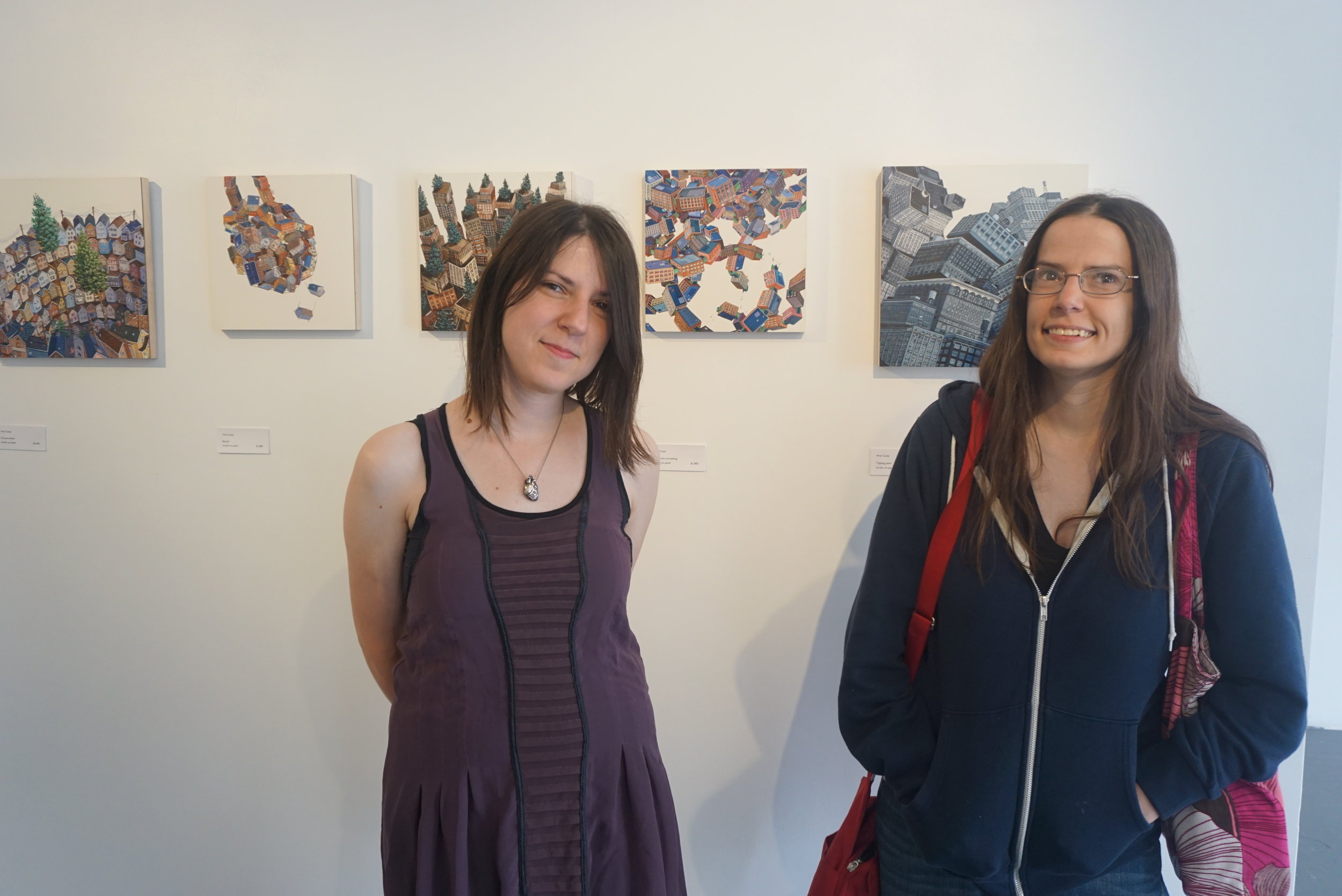 Amy Casey and her sister (right) who flew up from Cleveland, OH for the opening.