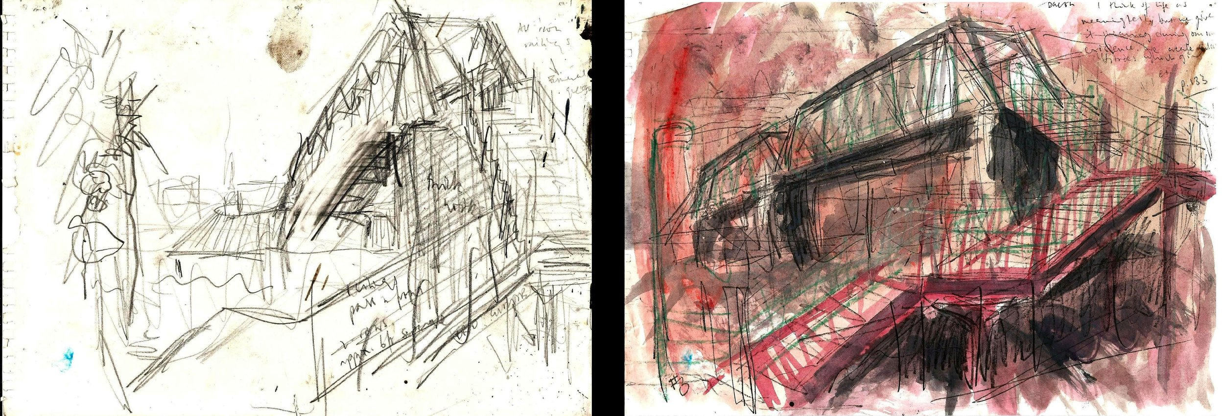 "Studies, ""Jacob's LAdder, London W13""  pencil on paper. 8"" x 11"", pencil and watercolor on paper, 8"" x 11"""