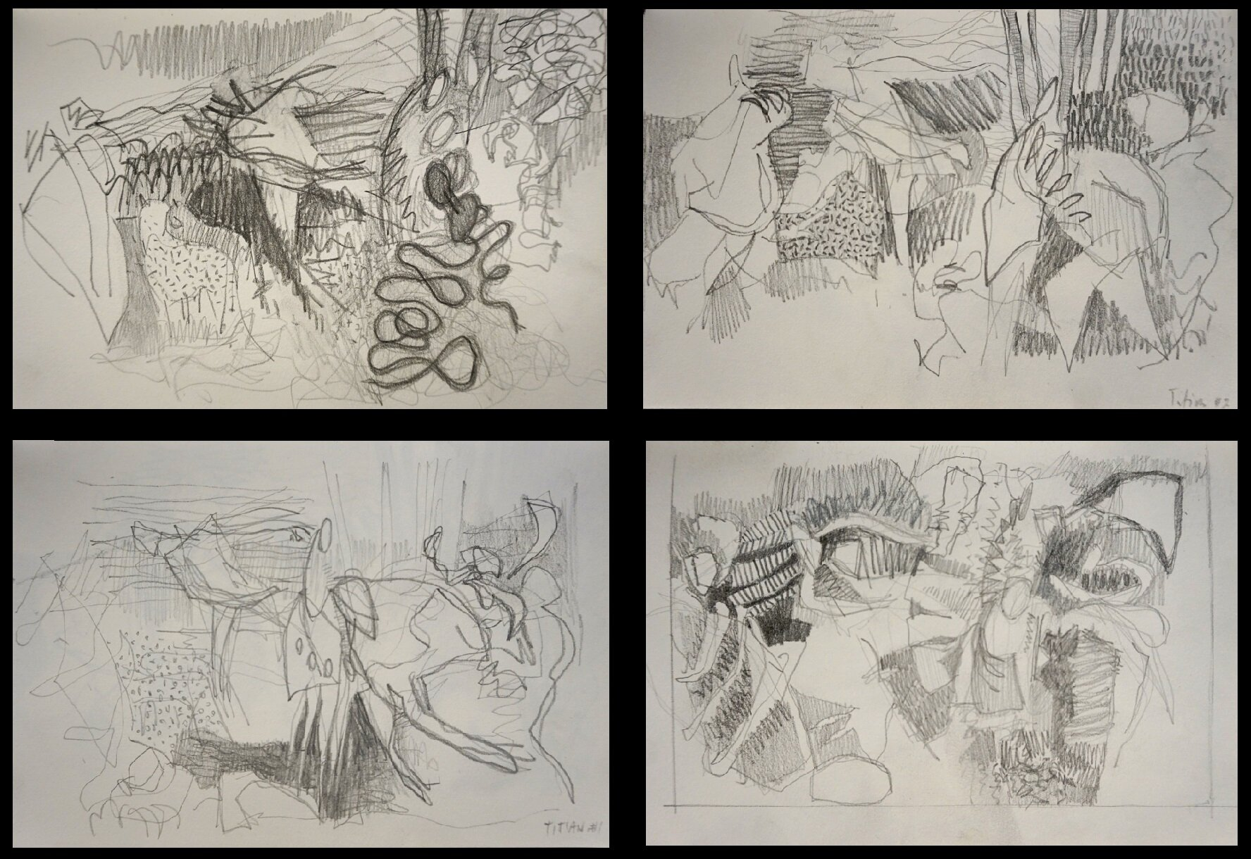 Some of my own small pencil studies after Titian.
