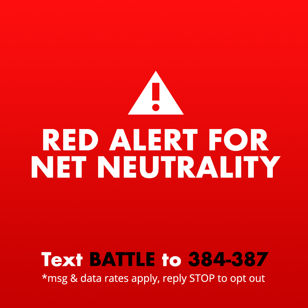 staff :     🚨This is a Red Alert for net neutrality 🚨    Last December, the FCC voted to to kill net neutrality.  If we do not take action, this will kill the free and open internet as we know it.  The internet needs you—all of you—to make sure your voices are heard NOW.    We need all hands on deck for this one. It may be our last chance. If you're feeling under-informed and overwhelmed about why net neutrality is so incredibly important,  we have this handy guide just for you .     Here's what you can do to save the internet:     In mid-May, the Senate will vote on a resolution to overrule the FCC using the Congressional Review Act (CRA).  We only need one more vote in the Senate to win.   Write or call your Senators or Representatives.  You can also text BATTLE to 384-387 to get more information on how to write to your reps. You can do this, Tumblr.    Join us and dozens of your other favorite companies like  Etsy ,  Vimeo ,  Reddit , and  GitHub  to raise awareness with the Red Alert campaign being run by  Battle for the Net . Just add  this small widget  to your Tumblr to let your followers know how they can contact their reps. It's as easy as copying and pasting the small line of code right into the  customize theme  page on the web.      This is important. This matters. It's up to you to help.