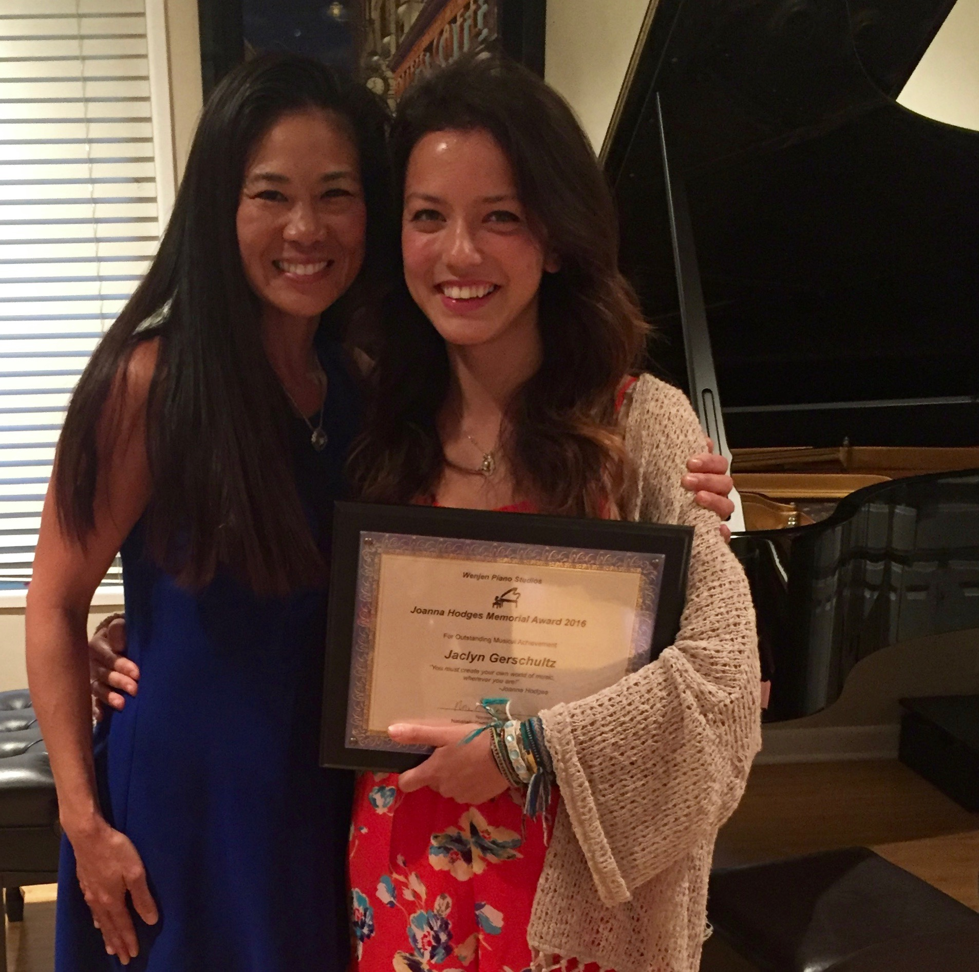Jaclyn GErSCHULTz, winner of the Joanna Hodges Memorial Award 2016 and student for 14 years at Wenjen piano studios