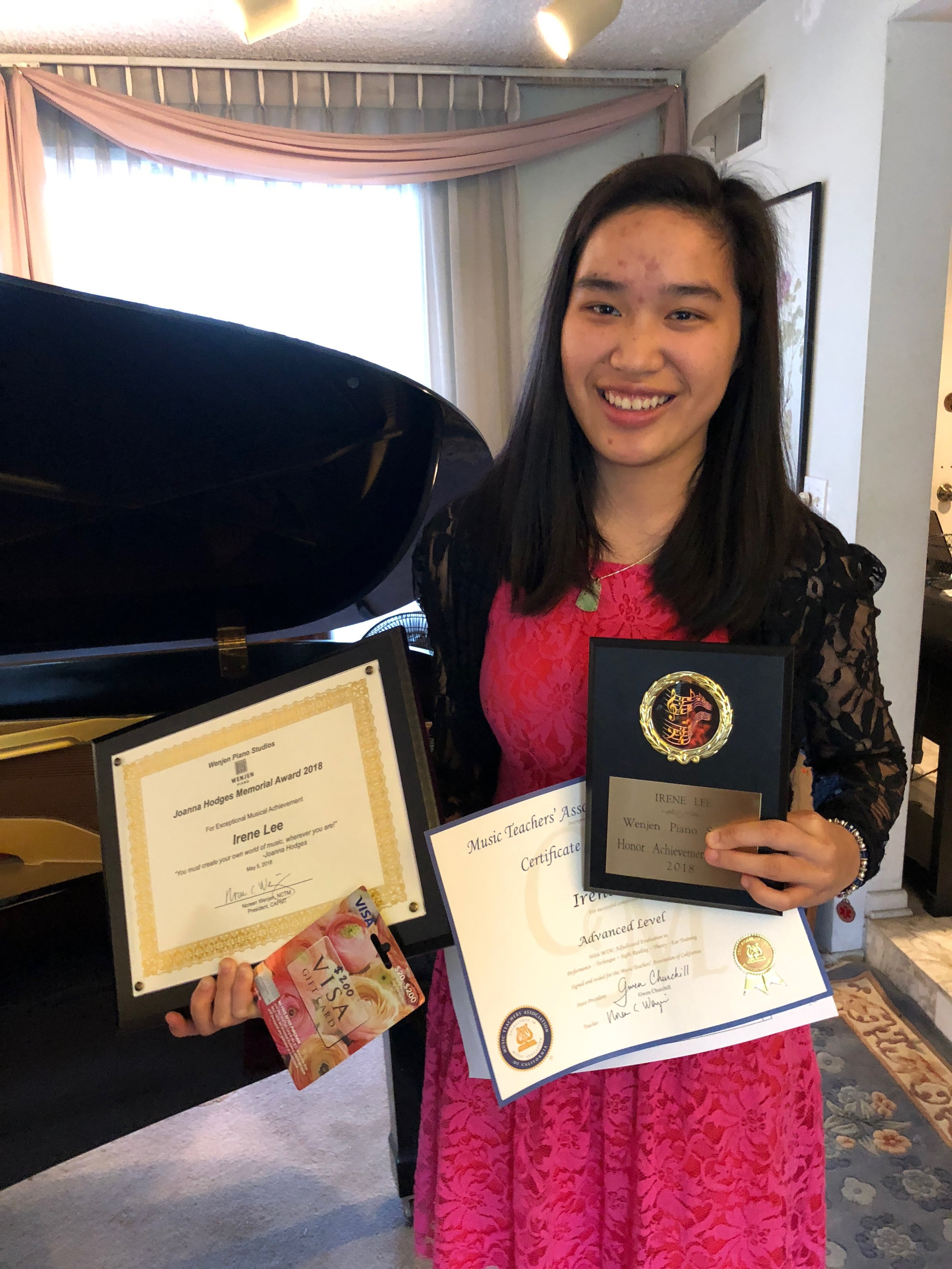 irene lee, winner of the Joanna hodges memorial award 2018 and student for 12 1/2 years at Wenjen piano studios
