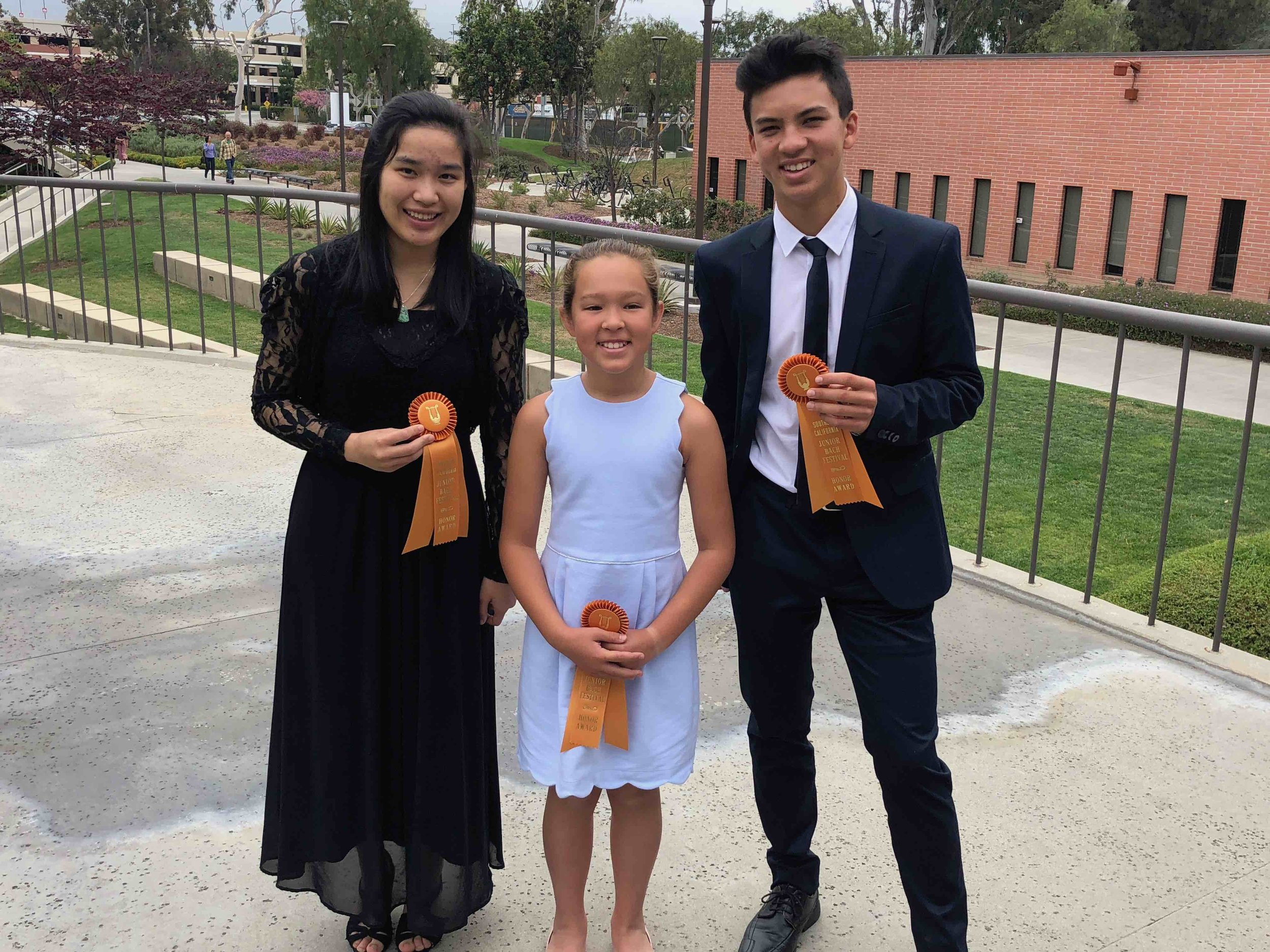 Bach Regionals 2018 - Congratulations to Irene L., Mikaela D., and Robert G., Bach South Bay Branch winners and Bach Regional Performers