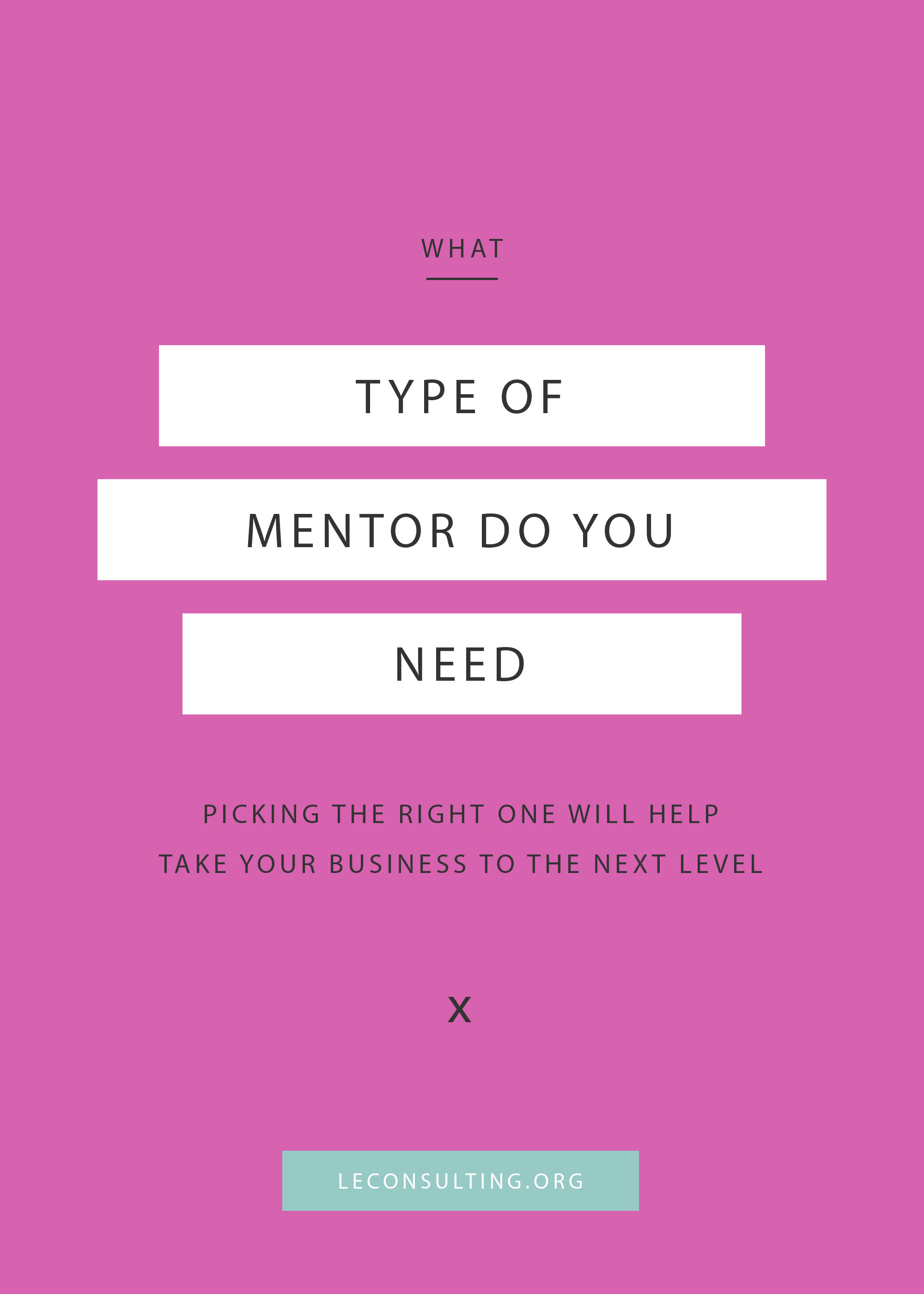 Thinking of taking your creative business to the next level and considering hiring a business coach or mentor? There's more than one type of coach or mentor out there. In fact, we're sharing 7 major types of coaches or mentors you could need for your business. Click through to read more on how to take your entrepreneurship to the next level. | LE Consulting